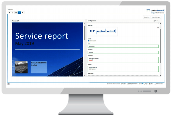 service report in VCOM CMMS on screen
