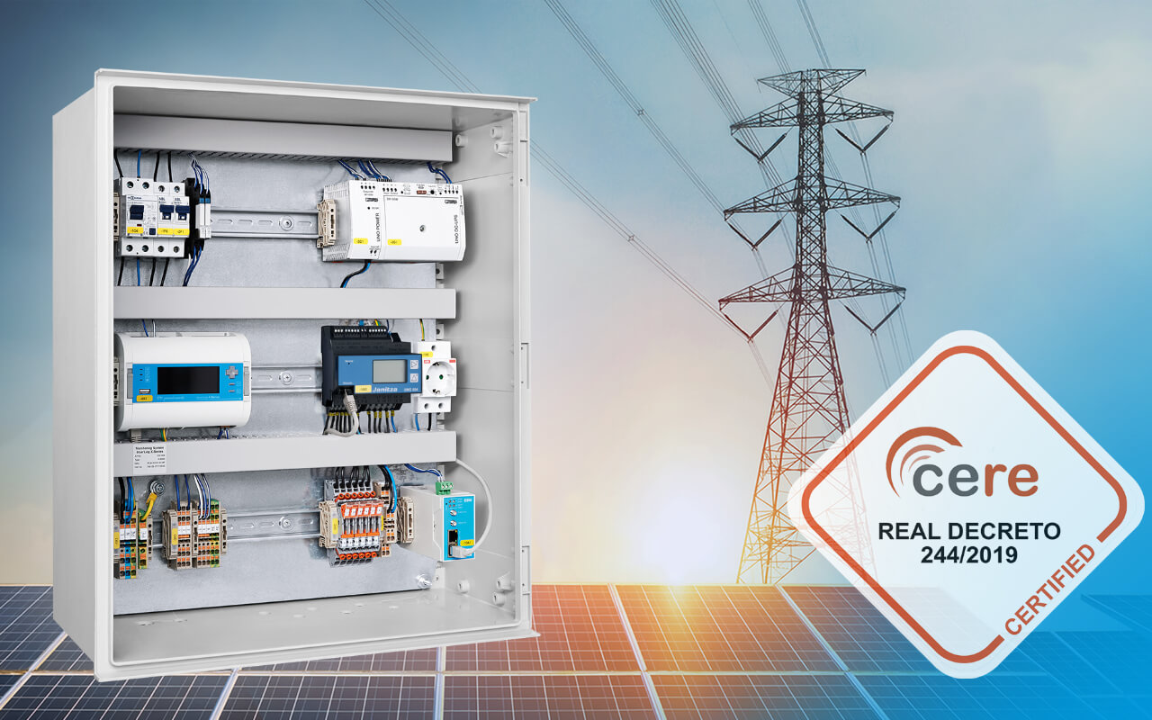 meteocontrol's blue'Log XC is certified for the Spanish market according to the Real Decreto (RD) 244/2019. PV self-consumption systems can now be legally connected to the Spanish power system.