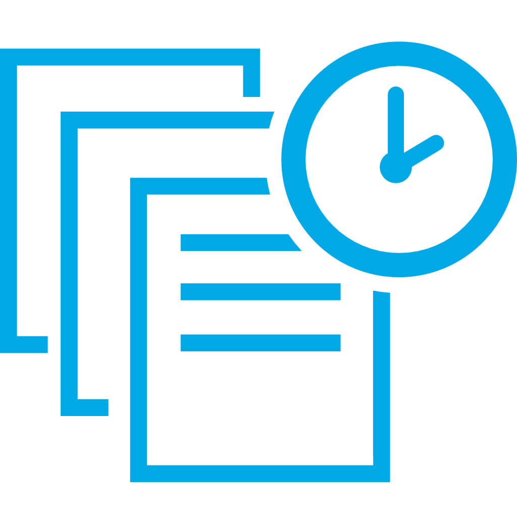 icon three documents with clock in upper right corner in blue