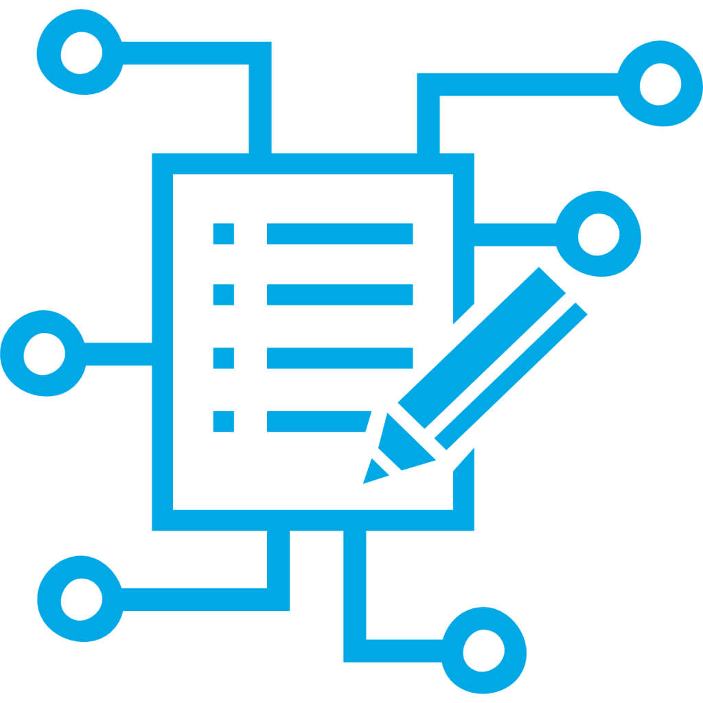 icon document and pen with different interfaces in blue