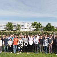 "group picture of meteocontrol employees taking part in the initiative ""Der PV Deckel muss weg"""